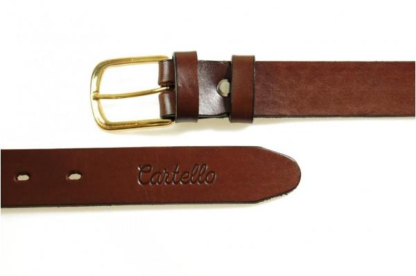 Skórzany, klasyczny pasek ze złotą klamrą Cartello P-9230