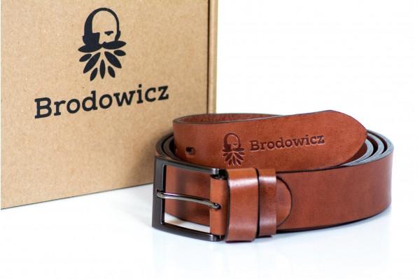 Skórzany szeroki pasek Brodowicz B-0035