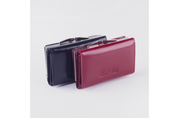 Cartello skórzany mały portfel damski z biglem D110
